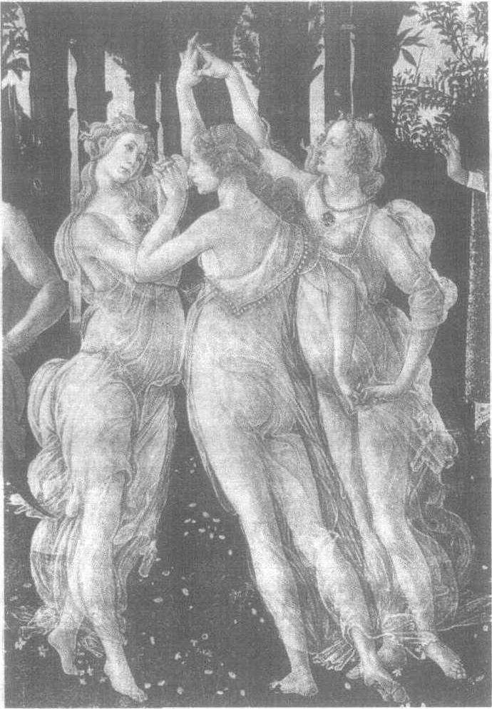 在宛如激起的涟漪一样的曲线交织成的风景前,三个美丽、丰腴的女子,脱去衣装,翩然起舞。她们踏着稳健的舞步,面含着撩人的微笑。她们就是维纳斯的侍女惠美女神阿格拉伊亚、欧弗洛绪涅和塔利亚。她们头顶上的那束玫瑰花, ......